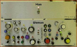 Man Women - one has more buttons